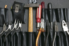 Strumenti in borsa di cuoio Fotografia Stock Libera da Diritti