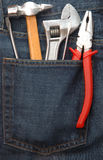 Strumenti in casella dei jeans Fotografia Stock Libera da Diritti