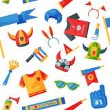 Strumenti colorati degli accessori del carattere di sport dell'uomo del patito dello sradicatore di attributo del fan di calcio d illustrazione di stock