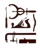 Strumenti del carpentiere su fondo bianco version2 fotografie stock libere da diritti