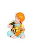 Strumenti del giocattolo dei bambini e del bambino su un fondo bianco fotografia stock libera da diritti