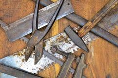 Strumenti del lavoro su legno Immagini Stock Libere da Diritti