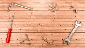 Strumenti del lavoro sul pavimento di legno Immagini Stock