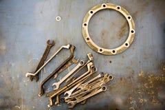 Strumenti del meccanico - chiavi dell'anello Immagini Stock
