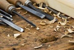 Strumenti del metallo per la scultura del legno immagine stock libera da diritti