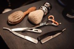 Strumenti del negozio di barbiere immagini stock libere da diritti