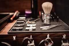 Strumenti del negozio di barbiere fotografia stock