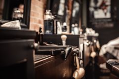 Strumenti del negozio di barbiere fotografia stock libera da diritti