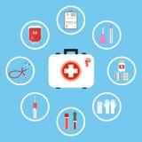 Strumenti del ` s di medico Attrezzatura chirurgica medica: stetoscopio, siringa, metro di pressione sanguigna, valigia del pront Fotografie Stock