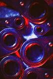 Strumenti dell'automobile o meccanici di riparazione illuminati in rosso ed in blu Immagine Stock