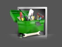 Strumenti della costruzione della cassetta portautensili per la riparazione Fotografia Stock Libera da Diritti