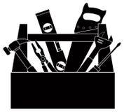 Strumenti della costruzione nell'illustrazione in bianco e nero di vettore della cassetta portautensili Fotografie Stock
