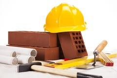 Strumenti della costruzione sopra bianco Fotografia Stock Libera da Diritti