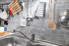 Strumenti della cucina da sopra Fotografie Stock