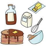 Strumenti della cucina di Kawaii per cuocere Illustrazione disegnata a mano degli utensili svegli per il forno royalty illustrazione gratis