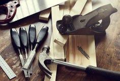 Strumenti della lavorazione del legno fotografia stock libera da diritti