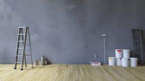 strumenti della parete in bianco 3Ds e della pittura immagini stock