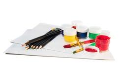 Strumenti della pittura con carta Fotografia Stock Libera da Diritti