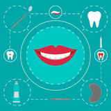 Strumenti dentari isolati di logo Dentista Care e trattamento medico Insieme di stomatologia Immagine Stock