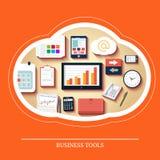 Strumenti di affari nella progettazione piana Fotografie Stock