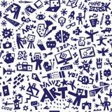 Strumenti di arte, disegni - fondo senza cuciture, elementi di progettazione di vettore Illustrazione di Stock
