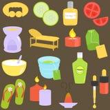 Strumenti di bellezza, icone della stazione termale, rilassamento, massaggio Immagini Stock Libere da Diritti