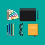 Strumenti di disegno isolati, attrezzatura per il progettista, Immagine Stock