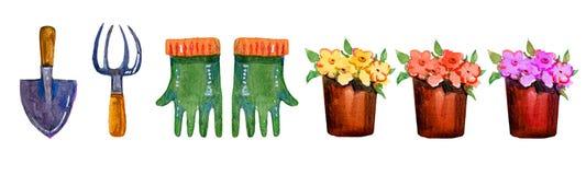Strumenti di giardinaggio, guanti e vasi da fiori - insieme disegnato a mano dell'acquerello Immagine Stock Libera da Diritti