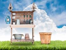 Strumenti di giardinaggio nuovi, cassetto della canna Fotografie Stock Libere da Diritti