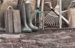 Strumenti di giardinaggio rustici Fotografia Stock