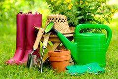Strumenti di giardinaggio su fondo e su erba verdi Immagine Stock
