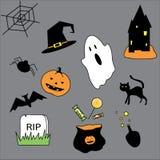 Strumenti di Halloween, fantasmi e molti altri Illustrazione Vettoriale