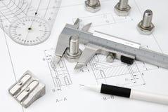 Strumenti di ingegneria sull'illustrazione tecnica Fotografia Stock