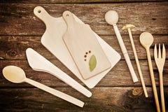 Strumenti di legno della cucina Fotografie Stock Libere da Diritti