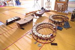 Strumenti di musica tailandesi del dulcimero del gong dello xilofono Fotografie Stock Libere da Diritti