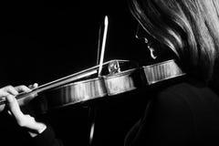 Strumenti di Musical del violinista del giocatore del violino Fotografia Stock