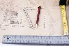 Strumenti di progettazione architettonica immagini stock libere da diritti
