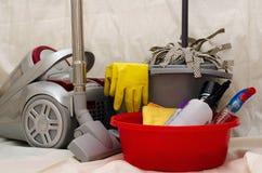 Strumenti di pulizia della famiglia Fotografie Stock Libere da Diritti