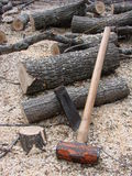 Strumenti di scissione della mano e della legna da ardere immagine stock libera da diritti