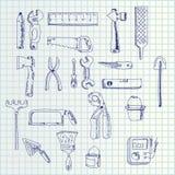 Strumenti di tiraggio della mano illustrazione di stock