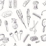Strumenti disegnati a mano per il modello senza cuciture dell'acconciatura e di trucco illustrazione di stock