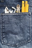 Strumenti e casella dei jeans Immagine Stock