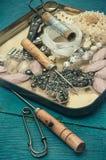 Strumenti e gioielli di cucito Fotografia Stock Libera da Diritti