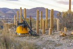 Strumenti e materiali per la costruzione delle rampe della bici fotografie stock libere da diritti