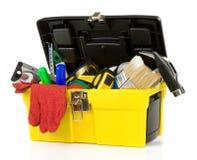 Strumenti e strumenti in scatola di plastica Fotografia Stock