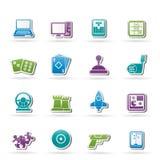 Strumenti ed icone dei giochi di computer Fotografie Stock Libere da Diritti