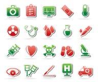 Strumenti ed icone medici dell'attrezzatura di sanità Fotografie Stock Libere da Diritti
