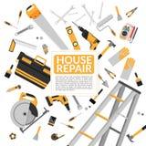 Strumenti gialli di riparazione della casa ed attrezzature funzionanti della costruzione fotografia stock libera da diritti