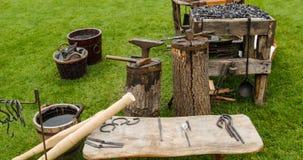 Strumenti medievali del fabbro Fotografie Stock
