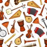 Strumenti musicali del modello senza cuciture di musica folk royalty illustrazione gratis